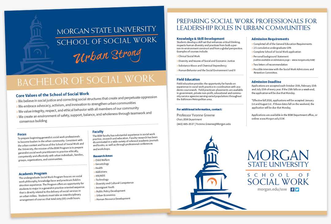 Morgan State University School of Social Work Bachelor of Social Work Flyer
