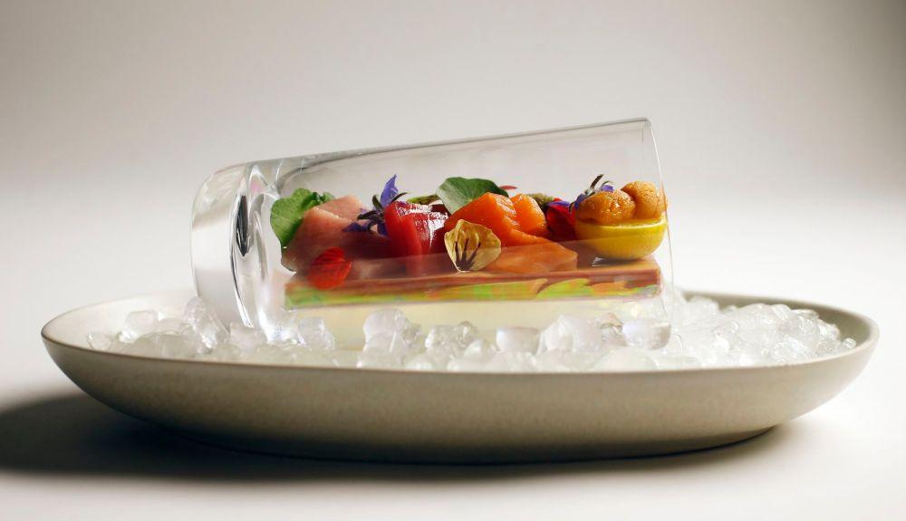 Chef Jimmy Park created an assorted sashimi dish in a cup with fatty tuna, tuna, cured scallop, homemade shrimp, and hokkaido uni.
