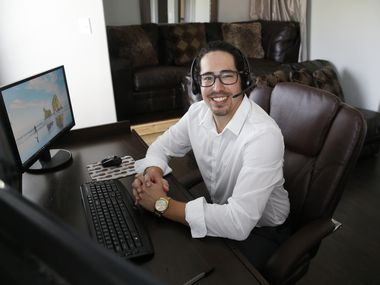 Jon Kollman has been working from his Frisco condo since the pandemic started, dividing time between an upstairs office and a downstairs space off the living area. He plans to continue working remotely after COVID-19 fades because he values the extra time with family.