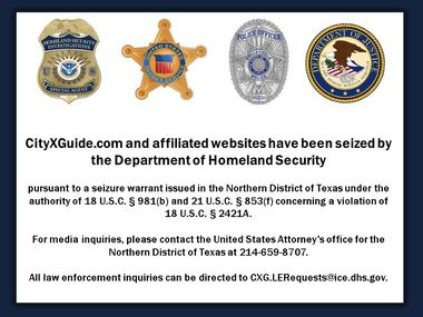 "Last week the U.S. Attorney's Office shut down CityXGuide.com, a website a federal indictment described as ""leading source of online advertisements for prostitution and sex trafficking."" When the site is now accessed, this is the splash page that is displayed."