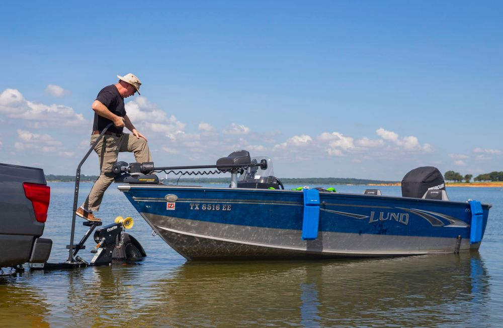 Steve Reideler from Denton unloads his boat onto Grapevine Lake from Murrell Park on July 24, 2020 in Flower Mound. Reideler said he's been fishing Grapevine Lake for years and likes the family-friendly amenities that Murrell Park offers.