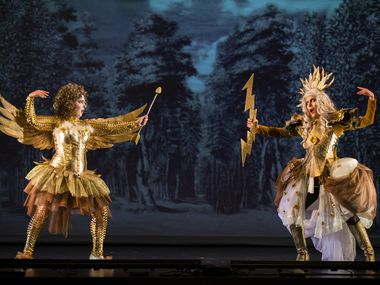 """Julianna Emanski (left) performs as Amor and Carla Lopez Speziale performs as Jupiter during a dress rehearsal of Orchestra of New Spain's production of Sebastian Durón's """"Love Conquers Impossible Love"""" on Feb. 19, 2020 at Moody Performance Hall in Dallas."""