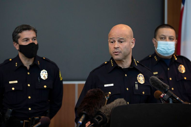 Dallas Police Chief Eddie García speaks at a news conference about the release from jail of former Officer Bryan Riser on April 8, 2021.