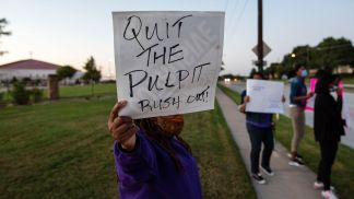 Women Protest Outside Rickie Rush's Church in Dallas to Show Support for Sexual Assault Survivors as They Call for Him to 'Step Down Now'