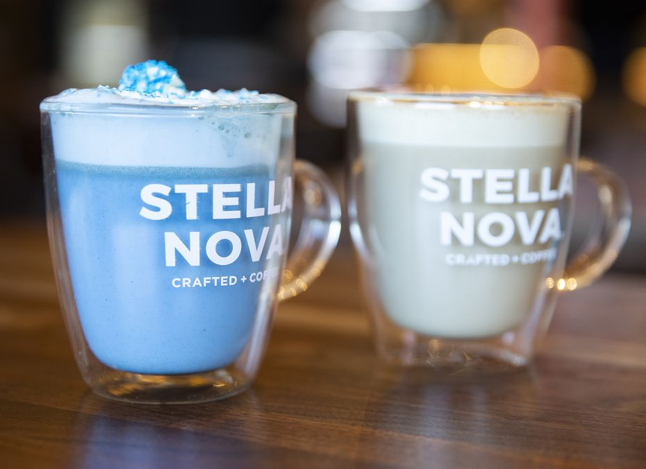 A Moon Milk (left) and and a latte at Stella Nova