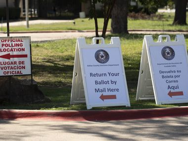 In this file photo, signage to vote at a polling location outside of the Dallas County Elections Operations Facility in Dallas, Oct. 05, 2020. Ben Torres/Special Contributor