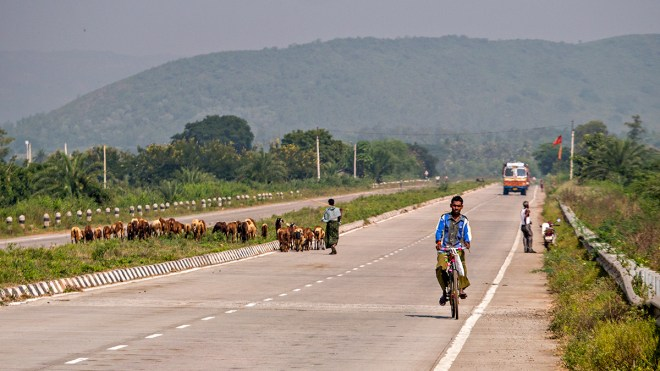 Goats, bikes and truck on National Highway 5