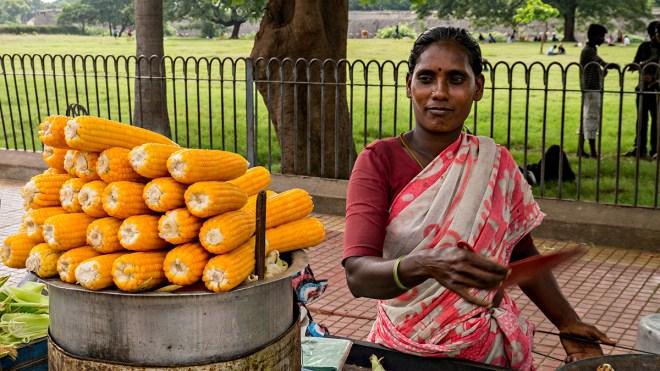 Selling corn on the cob, Vellore, Tamil Nadu