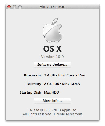 Apple OSX 10.9 Mavericks test-drive