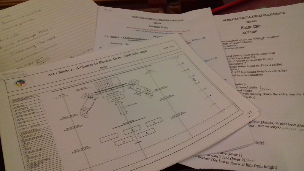 Production meeting documents - stage plans, chorus plot & props plot
