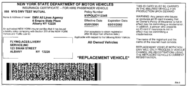 Sample Ny State Insurance Id Cards New York Department Of. Form Mv82 Vehicle Registration