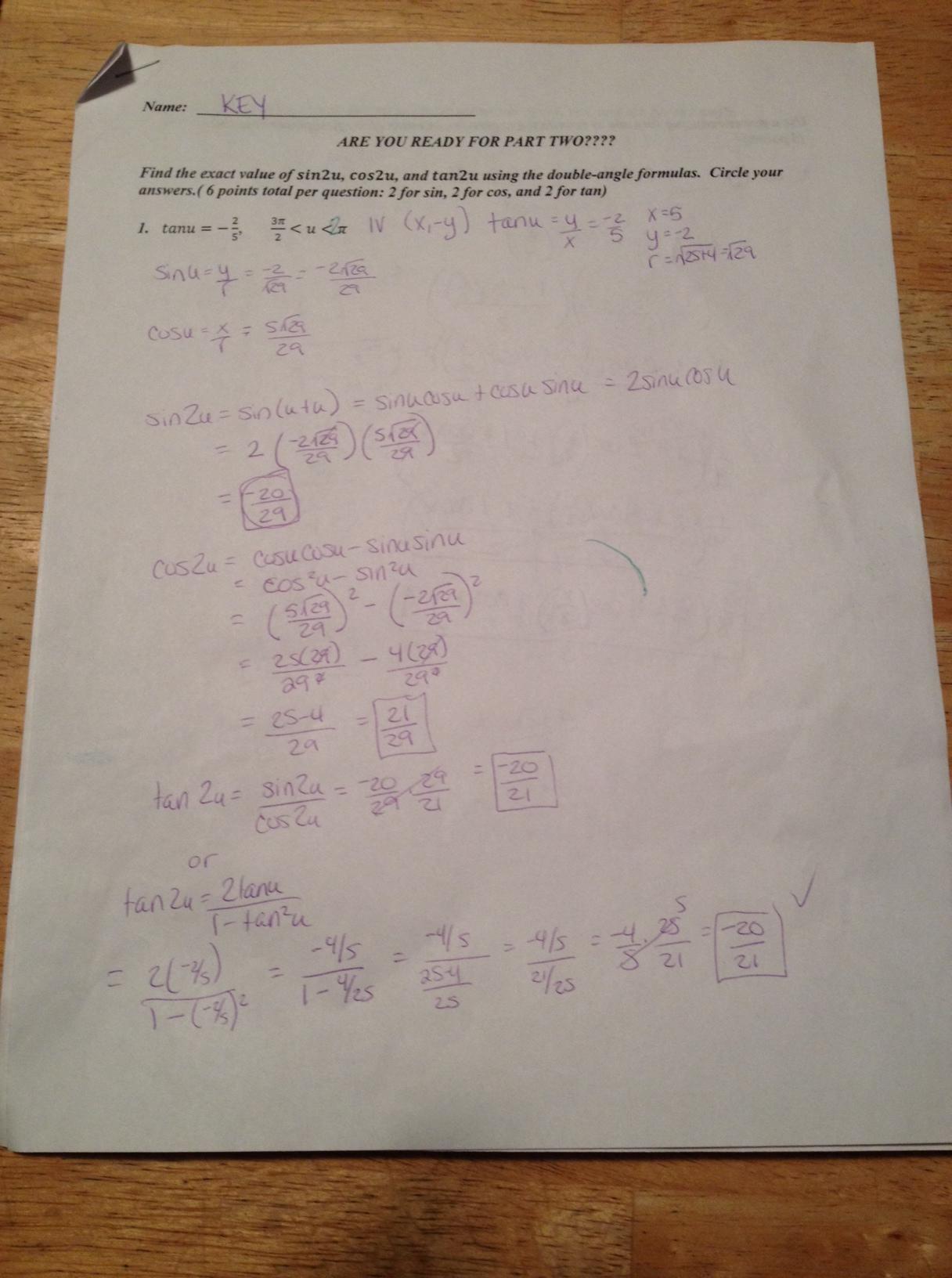 Test Corrections Worksheet