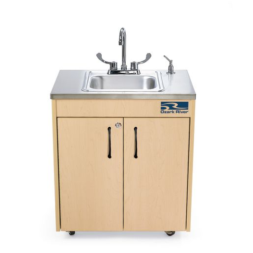 ozark river lil portable hot water sink with stainless top and basin