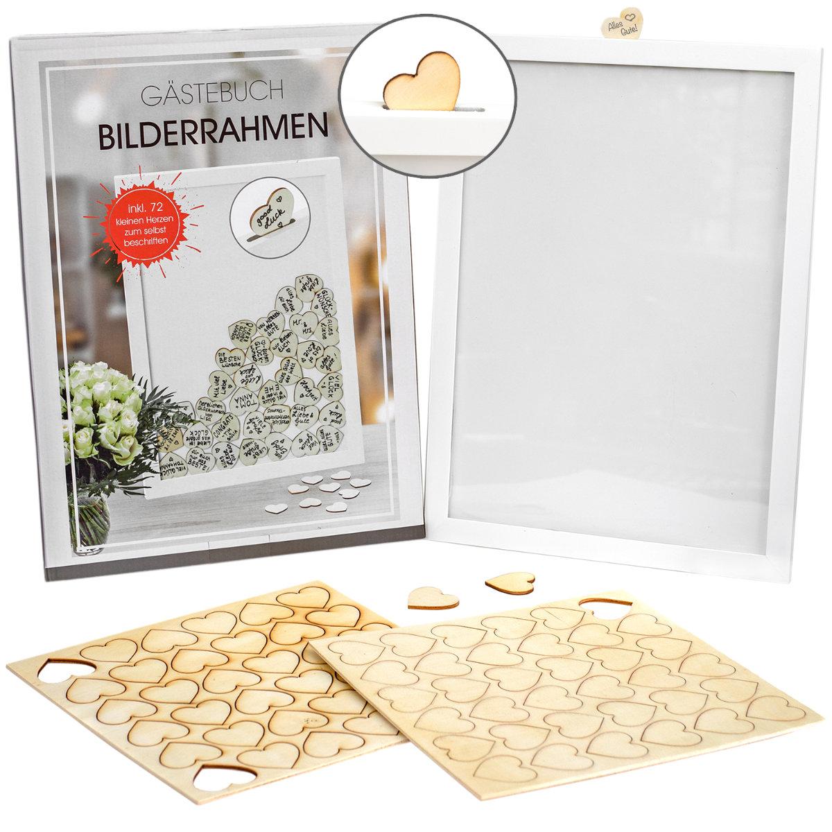 Hochzeit Gastebuch Bilderrahmen Inkl 50 Holzsternen Jemidi24