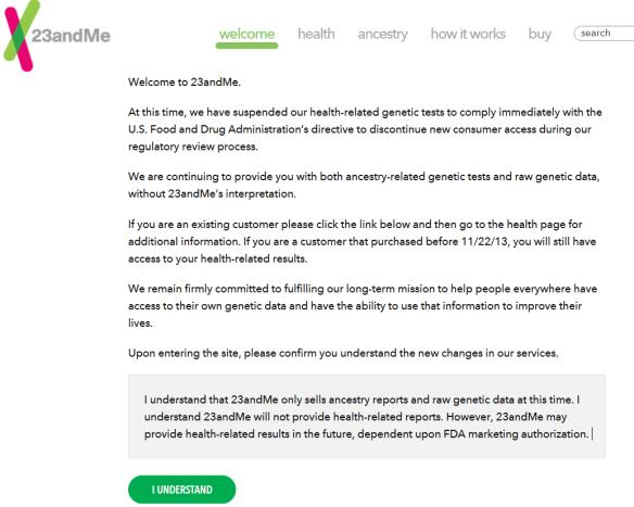 23andme suspends health