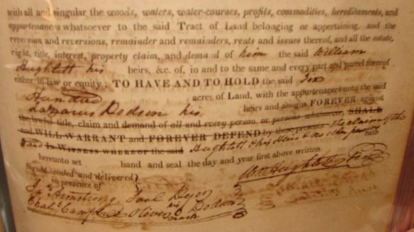 Bottom part of Lazarus Dodson's land purchase.