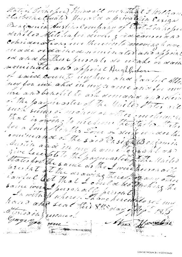 William Herrell 1815 poa