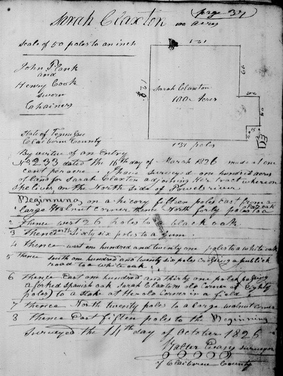 Sarah Claxton 1826 survey
