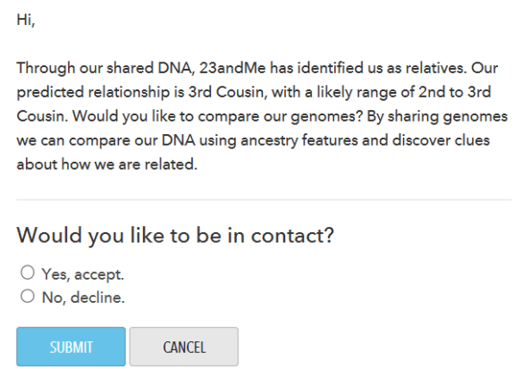 23andMe contact request