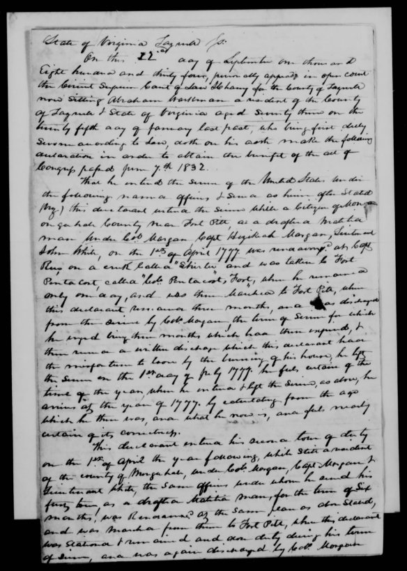 Abraham Workman Pension app 1834 Tazewell Co Va