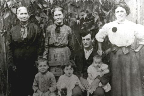 Charlie Tomas Estes with wife and both mothers