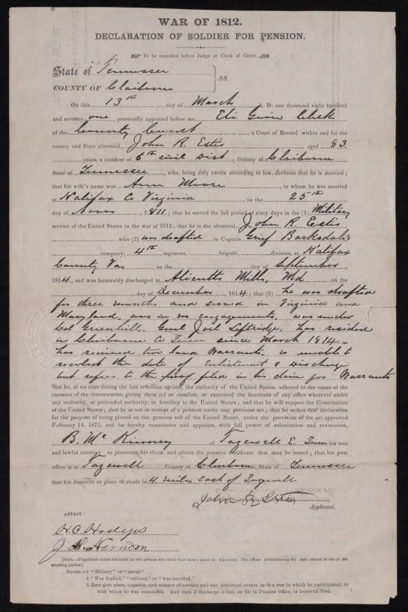 John R. Estes 1871 pension app