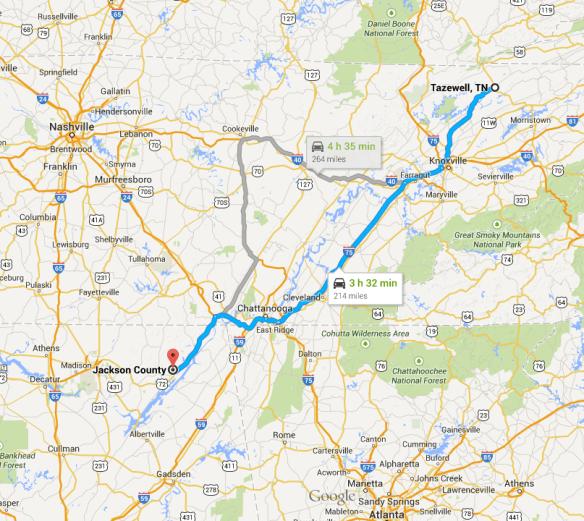 Tazewell to Scottsboro