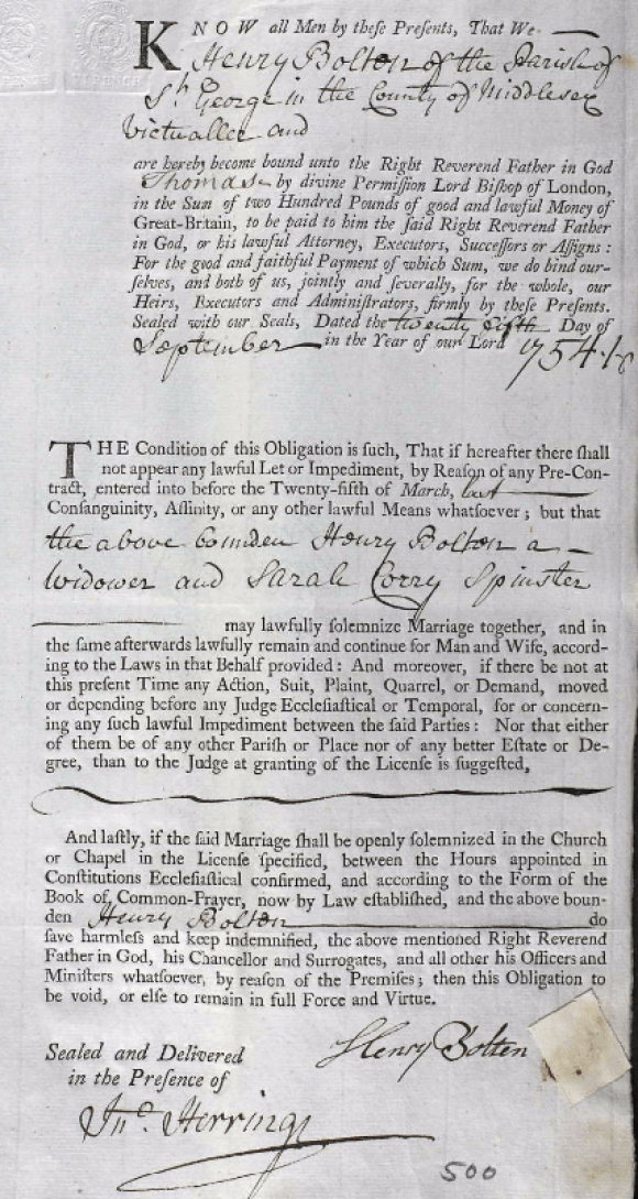 Henry Bolton 1754 marriage