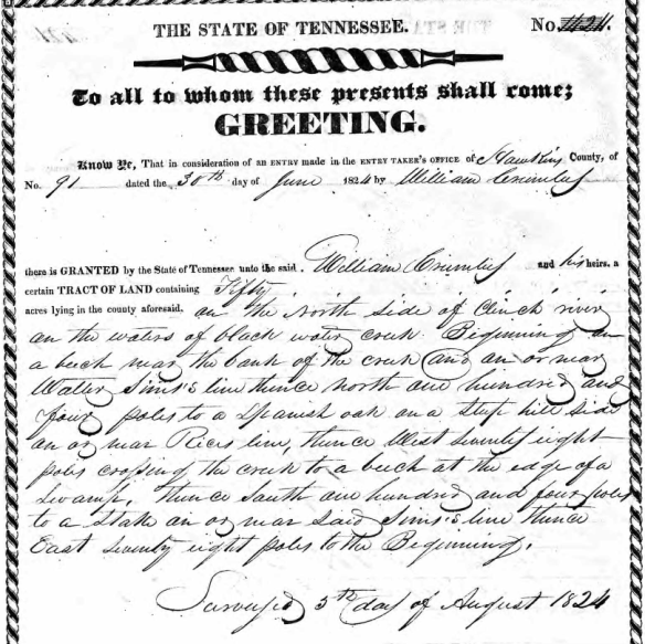 Crumley 1824 land grant