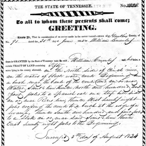 Crumley 1824 land grant