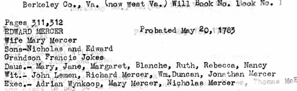 Edward Mercer 1783 probate