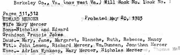 Edward Mercer 1783 probate