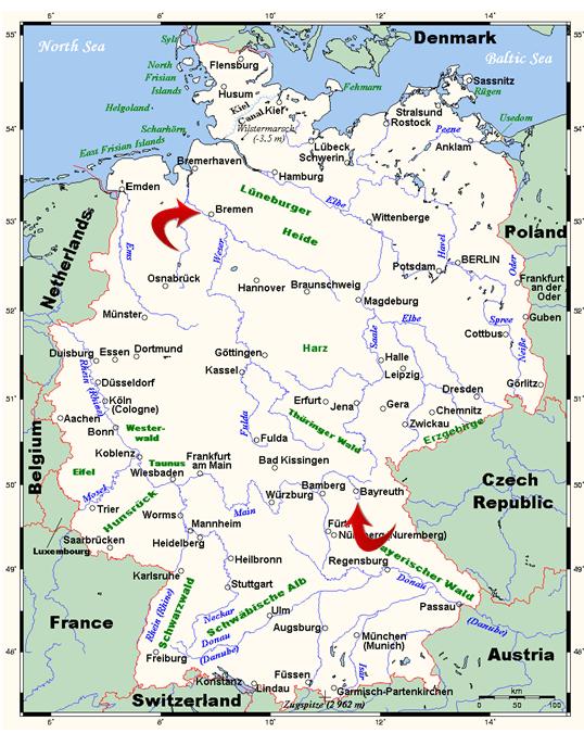 Bayreuth Bremen map