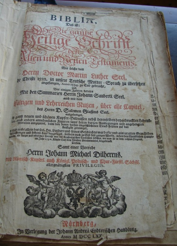 Philip Jacob Miller Bible front page