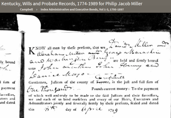 Philip Jacob Miller estate probate