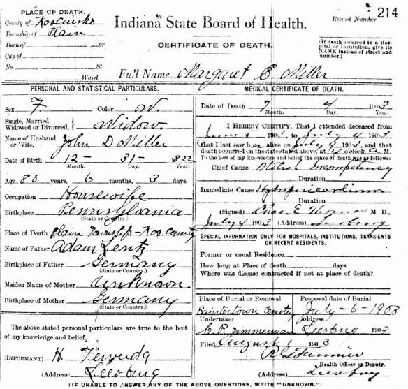 Fredericka Margaret Lentz Miller death cert