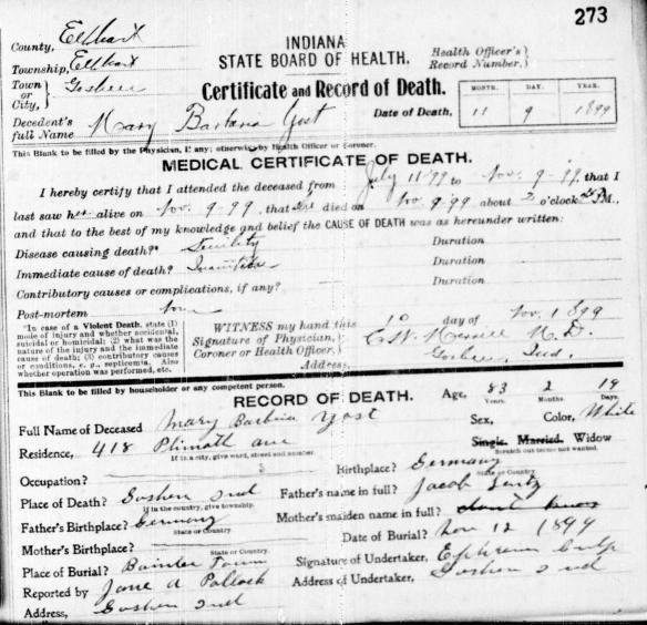 Lentz Barbara death cert