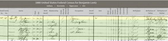 Lentz Benjamin 1880 census