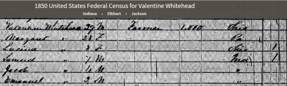 Margaret Lentz 1850 census