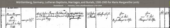Grubler, Maria Margaretha death