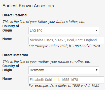 FTDNA earliest known ancestor