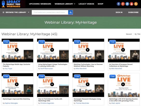 MyHeritage LIVE 2018 webinars
