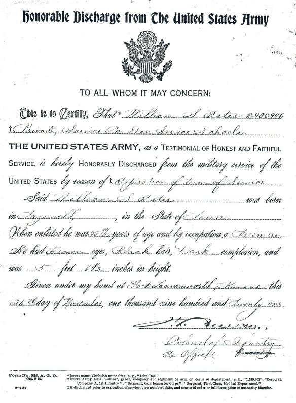 William Estes honorable discharge 1921