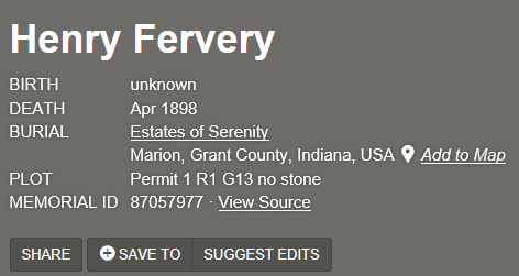 Henry Ferverty Findagrave