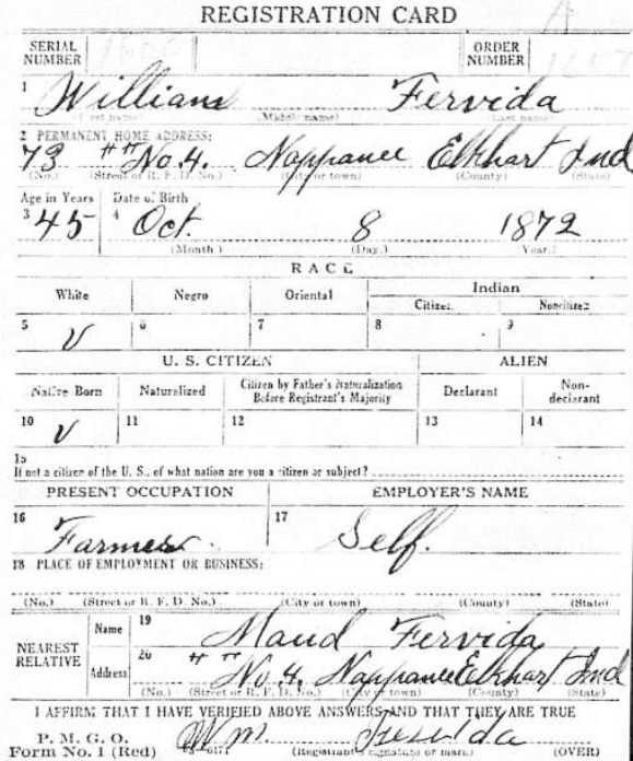 Hiram Ferverda 1917 William Fervida registration.png