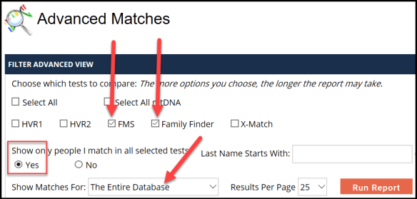 mitochondrial advanced matches filter