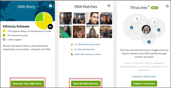 Glances Ancestry DNA tab