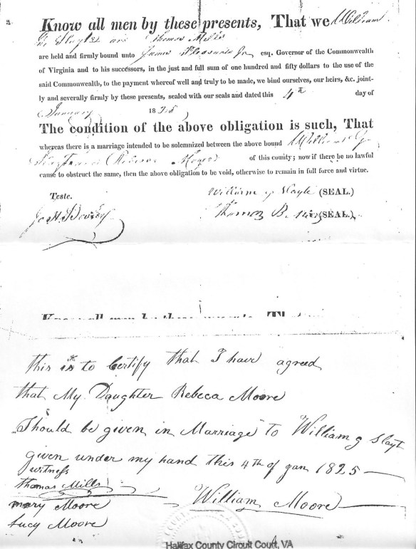William Moore 1825 signature Rebecca Moore to William Slayte.jpg
