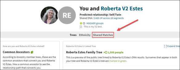 First Steps Ancestry shared matches