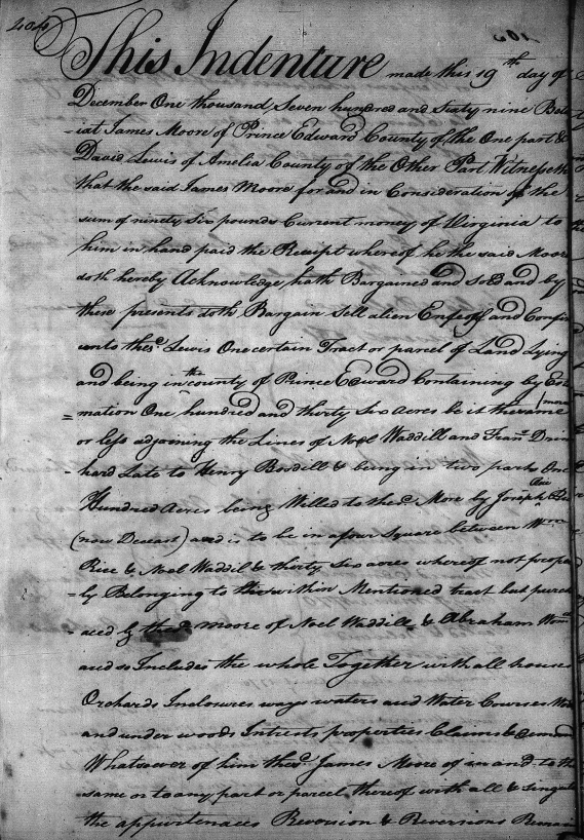 James Moore 1769 Deed Prince Edward page 1.png